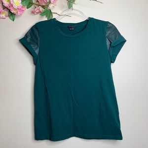Theory Green Shirt Faux Leather Sleeves Size M